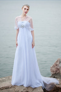 A-Line Empire Beading Chiffon Long Beach Wedding Dresses