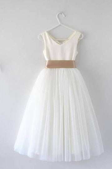A-Line Scoop Neck Short/Mini Tulle Prom Dresses With Tie