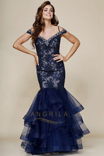 Beading Lace Ruffled Long Mermaid Formal Prom Dresses