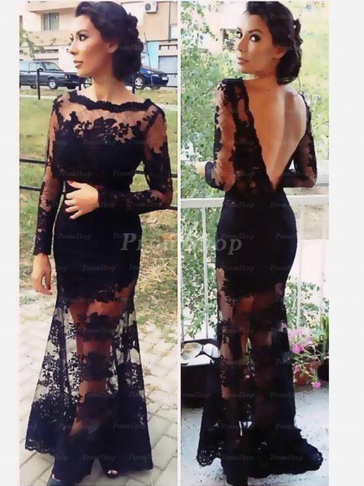 Back V-neck Floor Length Lace Prom Dresses With Long Sleeve