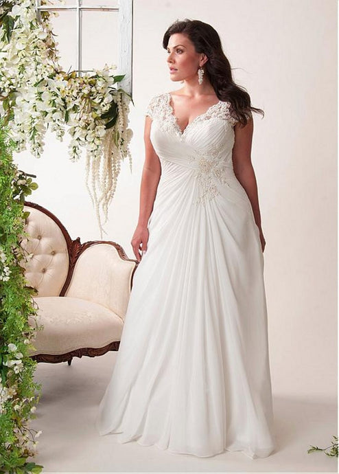 Plus size V-neck Cap Sleeve Lace Applique Pleated Long Chiffon Bridal Wedding Dresses
