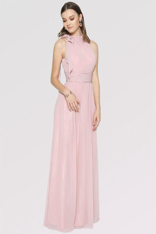 A-Line Halter Long Chiffon Formal Prom Bridesmaid Dresses