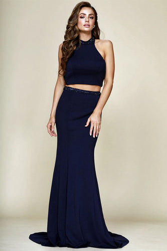 Two-Piece Sleeveless Long Prom Dresses
