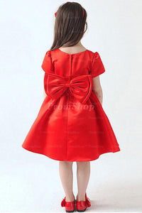 Remarkable Zipper Natural Bow Tie Knee-length Flower Girl Dresses