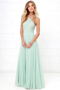 Sleeveless Chiffon Floor-Length Bridesmaid Dresses