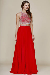 Two-Piece A-line/Princess Beading Long Chiffon Formal Prom Dresses