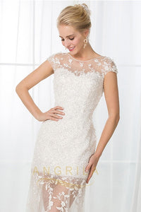 Cap Sleeves Illusion Neckline Long Bridal Dresses with Lace Applique