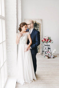 A-Line Scoop Neck Floor Length Tulle Wedding Dresses With Sequins