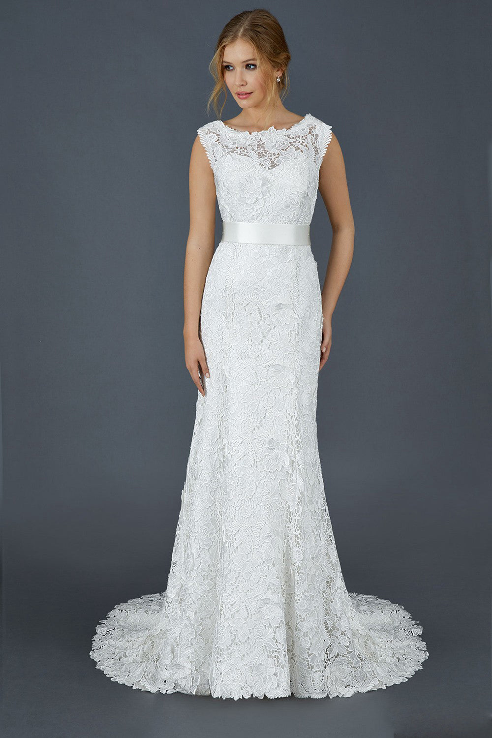 Lace Bateau Neckline Wedding Dresses with Satin Belt