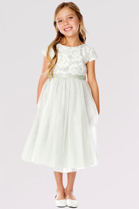Cute A-line/Princess Cap Sleeves Tea-length Flower Girl Dresses