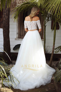A-line Two-Piece Off-the-Shoulder Detachable Boho Wedding Dresses