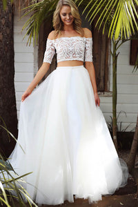 A-line Two-Piece Off-the-Shoulder Detachable Wedding Dresses