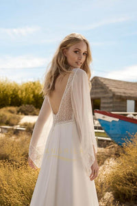 A-line/Princess V-Neck Chiffon Wedding Dresses with Trompete Chiffon Sleeves