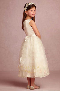 Charming Tulle & Satin Jewel Neckline Flower Girl Dress with Handmade Flowers