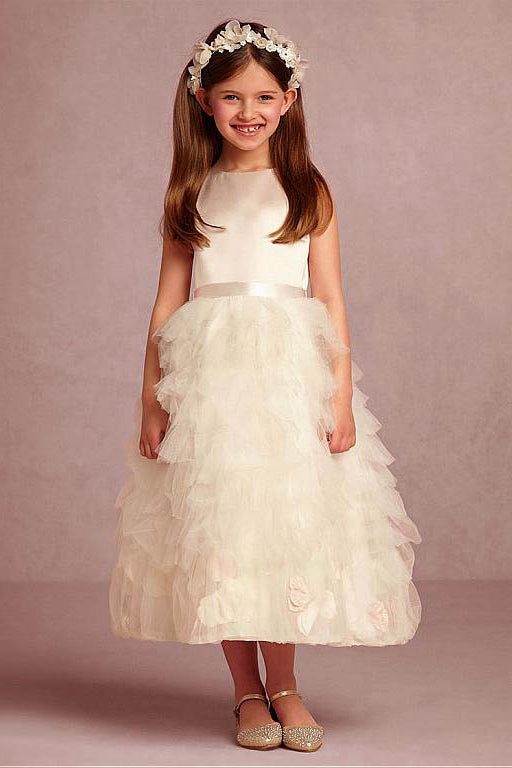 5681599d994 Charming Tulle   Satin Jewel Neckline Flower Girl Dress with Handmade  Flowers ...