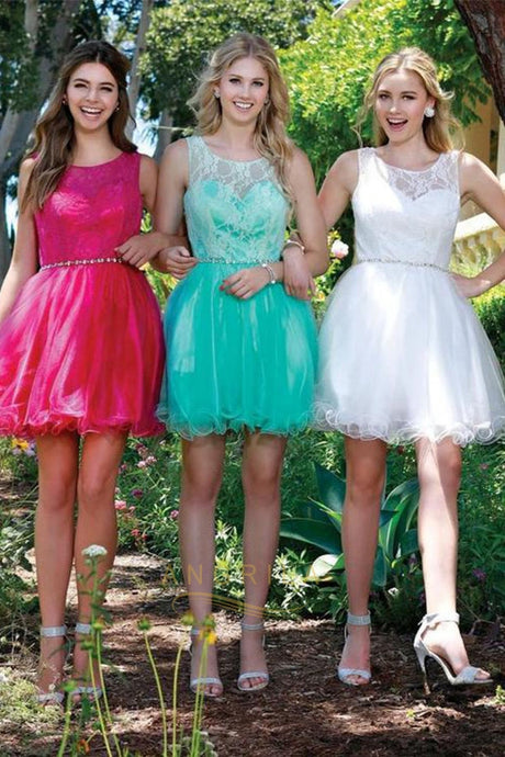 A-line/Princess Sleeveless Beading Short Formal Prom Dresses