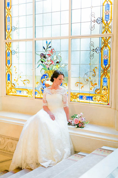 A-line/Princess Off-the-Shoulder Lace Wedding Dress with Sleeves