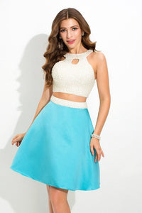 A-line/Princess Halter Two-piece Beading Short Formal Prom Dresses