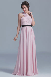 Charming One-Shoulder Floor-Length Pink Chiffon Bridesmaid Dresses