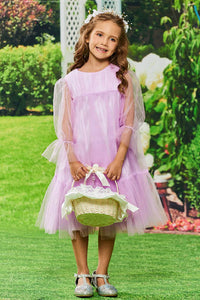 Glamorous A-line Scoop Neckline Tea-length Tulle Flower Girl Dresses