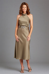 Elegant Sheath Halter Neckline Sleeveless Tea-length Satin Mother of the Bride Dresses