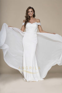 Trumpet/Mermaid Off-the-shoulder Detachable Overlay Long Formal Prom Dresses