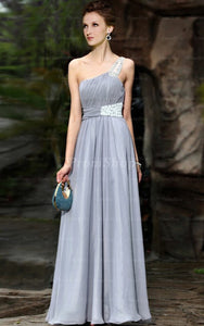 A-Line One-Shoulder Floor-Length Chiffon Prom Dresses With Beading Sequins