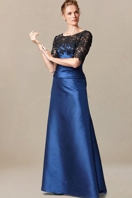 Silhouette_Sheath/Column Short Sleeves Lace Top Long Mother of the Bride Dresses
