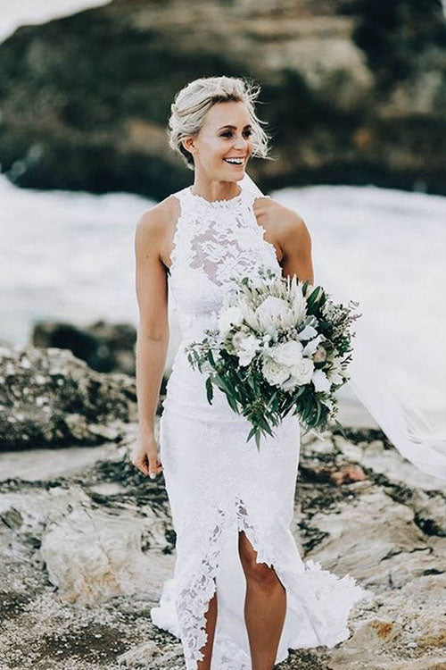 Lace Wedding Dress with Lace at Neck