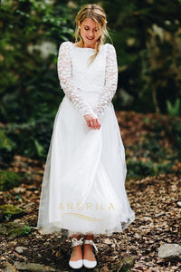 Fabulous A-Line Ivory Bateau Neck Long Sleeves Wedding Dresses