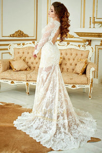 Elegant Long Sleeves V-Neck Mermaid Lace Wedding Dresses