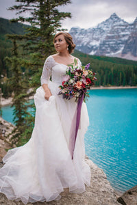 Ball Gown Plus Size  Lace Wedding Dresses with 3/4 Sleeves
