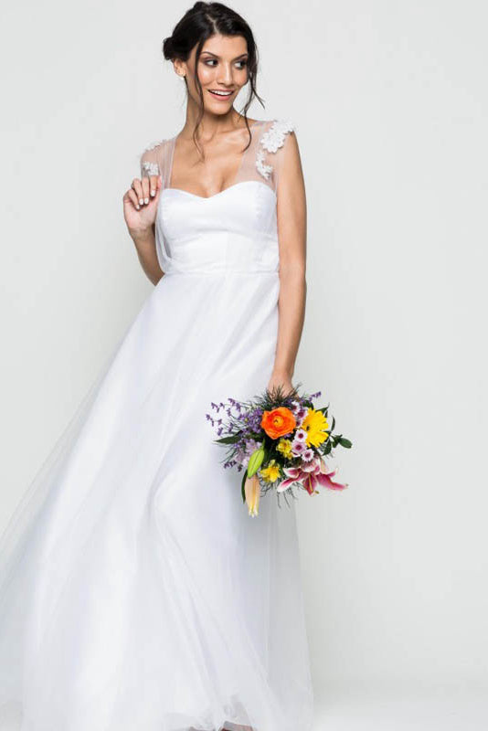 Sweetheart A line Tulle Classic Wedding Dresses