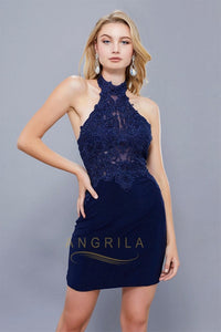 Sheath/Column Short Sleeveless Cocktail Dresses with Lace Appliques