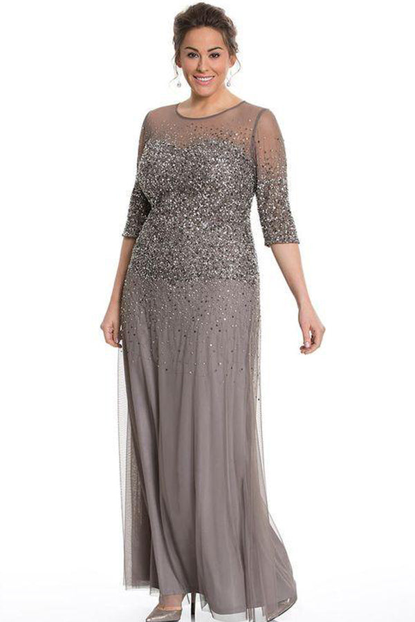 Sheath/Column 1/2 Sleeves Sequins Long Plus Size Mother of the Bride Dresses