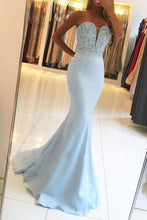 Mermaid Strapless Sweetheart Sweep Train Blue Prom Dress with Beading