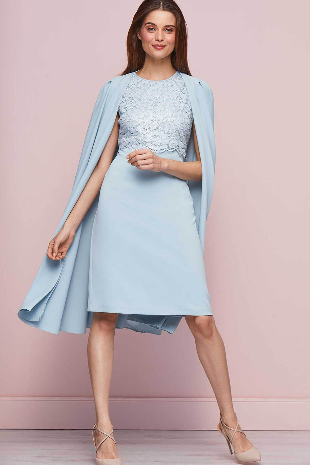 Sky Blue Knee-length Wedding Guest Dresses