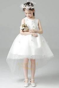 High Low Scoop Tulle Flower Girl Dresses with Beaded Flowers