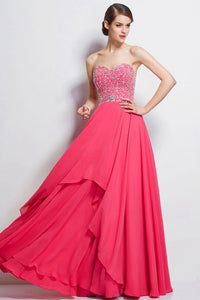 Marvelous A-line/Princess Strapless Sweetheart Beading Long Prom Dresses