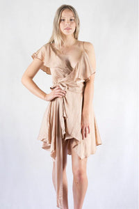 Charming Asymmetric Belt Wrap Short Cocktail Dresses