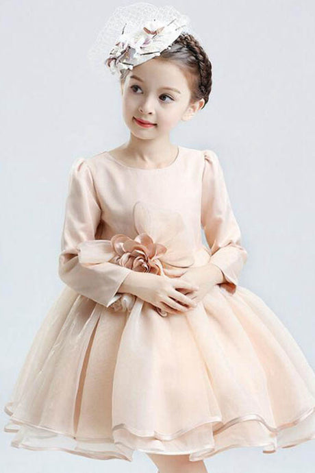 Champagne A-line/Princess Long Sleeves Flower Girl Dresses with Handmade Flowers