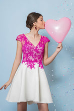 A-line V-Neck Lace Short Prom Dresses with Cap Sleeves