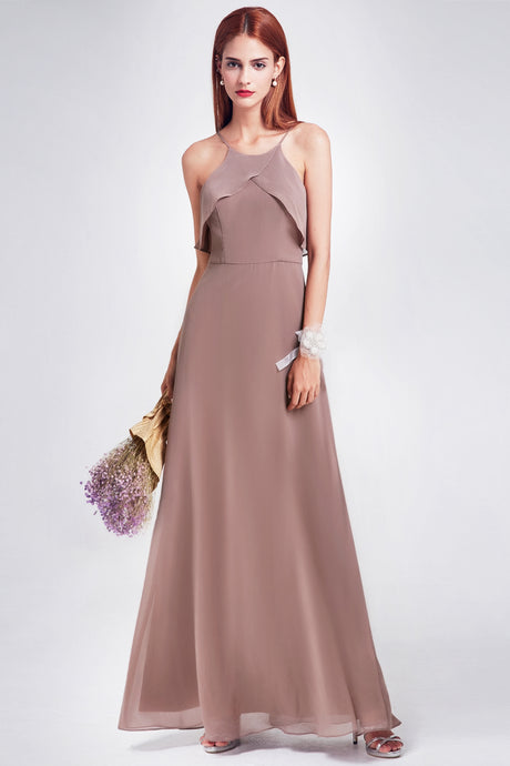 A-line/Princess Halter Sleeveless Long Chiffon Bridesmaid Dresses