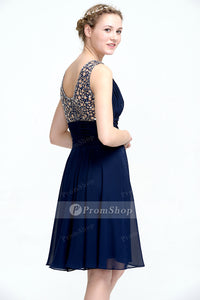 A-Line V-neck Short Chiffon Lace Prom Dresses With Sequins