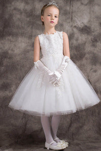 Chic A-line/Princess Lace Top Knee-length Tulle Flower Girl Dresses