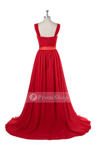 Princess Scoop Neck Floor-Length Chiffon Prom Dresses With Front High Slit