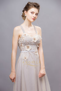 Chic Tulle Sleeveless Long Criss-cross Evening Dresses with Handmade Flowers
