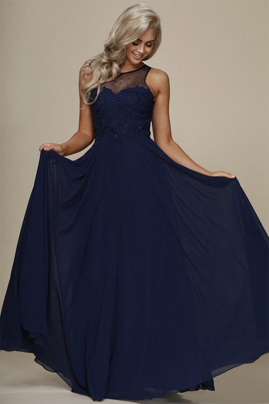 Charming A-line Sleeveless Lace Applique Beading Long Prom Dresses