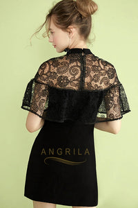 Chic Bow Tie Lace Short Sleeves Cocktail Dresses
