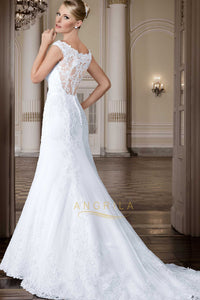 Mermaid V-Neck Sleeveless Lace Wedding Dresses with Lace Appliques